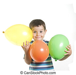 Kid playing with baloons