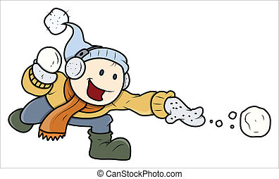 Kid Playing with Snow - Vector - Drawing Art of Cute Happy...