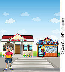 Kid, police station and jewelry store - Illustration of a...