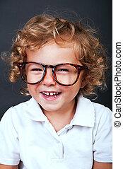 Kid portrait in glasses