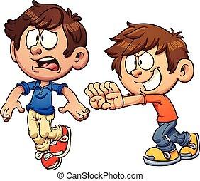 Kid pushing another kid - Cartoon kid pushing another kid....