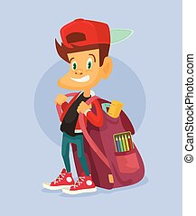 Kid ready to go back to school. Vector flat illustration