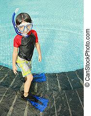 Kid ready to swim - Portrait of a kid with swimwear ready to...