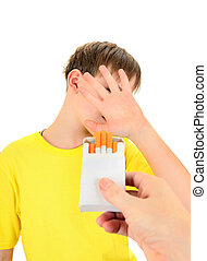 Kid refuses Cigarettes Isolated on the White Background