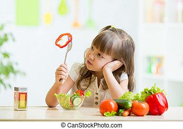 kid refusing to eat his dinner - pretty kid girl refusing to...