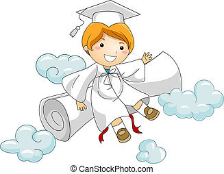 Kid Resting Against Diploma - Illustration of a Kid Resting...