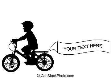 Kid riding a bike and holding a banner with place for sample text