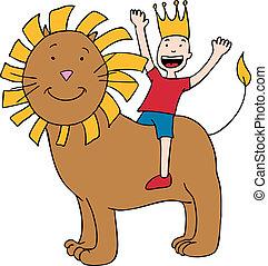Kid Riding Lion