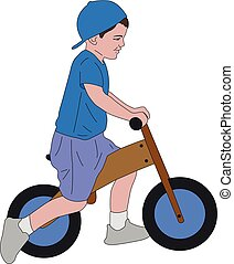 kid riding push bike - vector