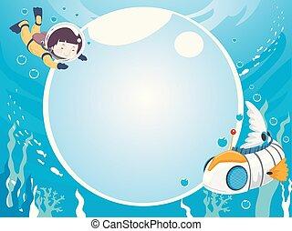 Kid Robot Fish Underwater Bubbles Background