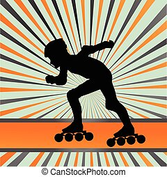Kid roller skating vector background concept