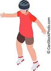 Kid rollerblading icon, isometric style