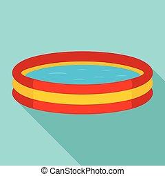 Kid round pool icon, flat style