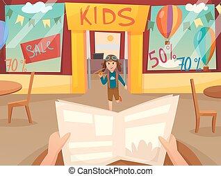 Kid Running Off Composition - Retro cartoon kid running off...