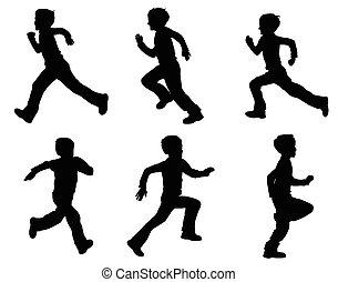 kid running silhouettes