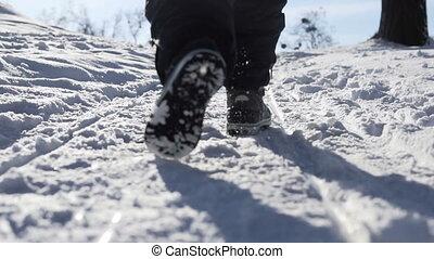 Kid Runs in Winter Park