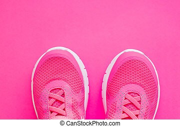 Kid s sport shoes. Isolated on pink background with clipping path. pair of blue and white sneakers on pink. kids fashion. Trendy shoes. children's sports sneakers, casual Child's sport shoes
