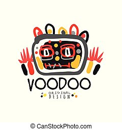 Kid s style Voodoo magic logo original template design with abstract scary head and decoration. Magical or mystical theme print. Hand drawn vector illustration