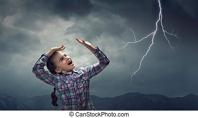 Kid scared with lightning. Mixed media