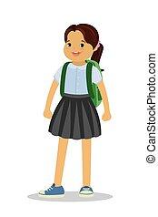 Kid schoolgirl with backpack.