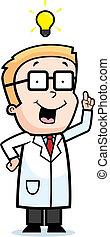 Kid Scientist Idea - A happy cartoon kid scientist with an...