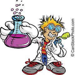 Science Inventor Boy Cartoon Student with Lab Coat and Scientific Experiment Equipment Vector Illustration