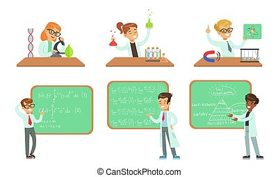 Kid Scientists Set, Boys and Girls Doing Experiments in the Laboratory and Writing Formulas on Chalkboard Vector Illustration
