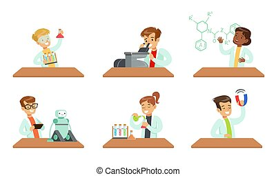 Kid Scientists Set, Boys and Girls Doing Experiments in the Laboratory Vector Illustration