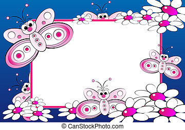 Kid scrapbook with blank frame message