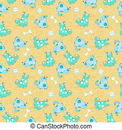 Kid seamless pattern with cartoon blue dogs