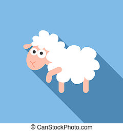Kid sheep icon, flat style