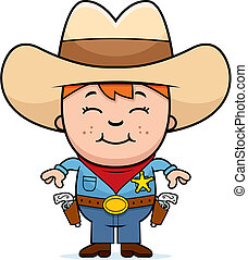 A happy cartoon kid sheriff standing and smiling.