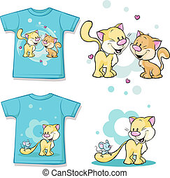 kid shirt with cute cat in love printed - isolated on white, back and front view