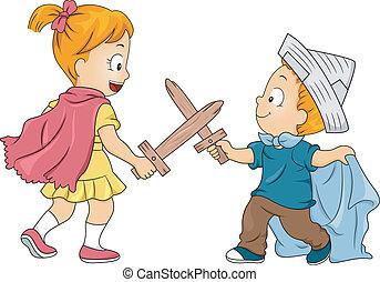 Kid Siblings Playing Swordfight