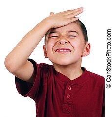 Kid slaps himself on head, oh-no - Eight-year-old boy hits...