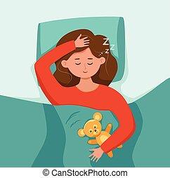 Kid sleep in bed at night vector illustration. Gir childl in pajama having a sweet dream in bedroom.