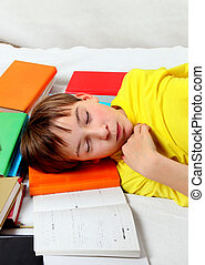 Kid sleep on the Books