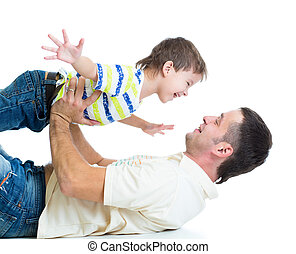 kid son and dad having fun pastime isolated on white...