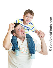 kid son riding dad's shoulders isolated on white