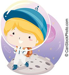 Kid Space School Boy Illustration