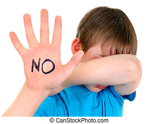 Sad Kid shows Stop Sign Gesture