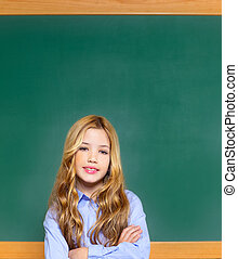 kid student girl on green school blackboard