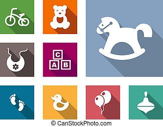Kid stuff flat icons set