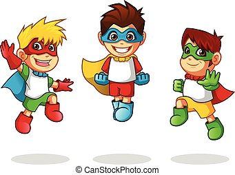 Kid Super Heroes Flying Pose