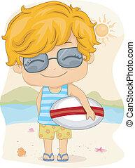 Kid Surfboard - Illustration of a Kid Holding a Surfboard