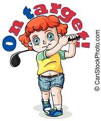 Kid swing a golf club