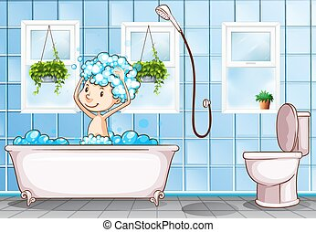 Kid taking bath in the bathroom