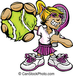 Kid Tennis Player Girl Holding Racquet and Ball - Tennis...