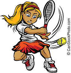 Kid Tennis Player Girl Swinging Racquet at Ball - Tennis...