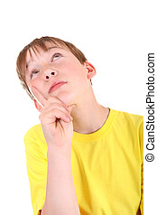 Kid thinking Isolated on the White Background